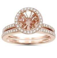 1/3Ct Rose Gold Halo Diamond Engagement Ring Setting & Wedding Band 14K 8mm ctr