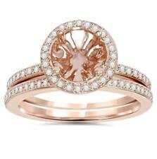 1/3Ct роза золотой ореол обручальное кольцо с бриллиантом настройка и обручальное кольцо 14K 8 мм Ctr