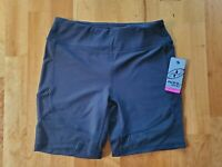 "NYL Women's Small Medium XLarge Black 9"" Inseam Mesh Fitted Bike Shorts"