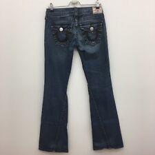 True Religion Sz 27 Rainbow Joey Distressed Flare Jeans Low Rise Flap Pocket