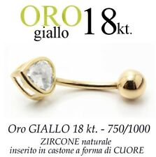 Piercing ombelico belly ORO GIALLO 18kt. a CUORE BRILLANTE yellow gold 18kt.