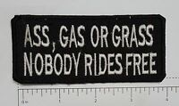 Ass Grass or Gass Club Outlaw Biker Funny Motorcycle Iron On Small Patch