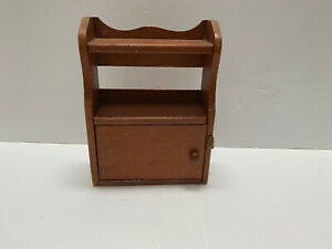 """VINTAGE WOODEN CHINA CABINET W/ 2 SHELVES, DOOR  DOLL FURNITURE 6.5"""" TALL"""