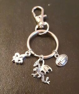 """Wales, Key Ring - Welsh Gift, Present - """"Dragon"""" """"Rugby"""" """"3 Feathers"""""""