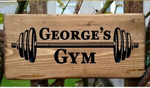 PERSONALISED Gym Name Door Sign Fitness Workout Training Plaque Wood Fun Gift.