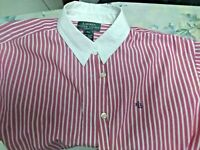 WOMENS RALPH LAUREN 10 PETITE RED & WHITE STRIPED BUTTON DOWN LS Blouse Top EUC