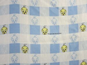 TWEETY BIRD flat sheet Twin/Single Dan River vintage 1998 Warner Bros. gingham