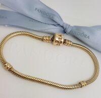 Authentic Pandora Solid 14ct 14k Gold Moments Charm Bracelet 18cm