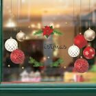 Christmas Red Ball Golden Decal Ornaments Wall Stickers Home Shop Decoration
