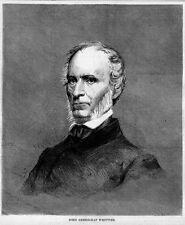 JOHN GREENLEAF WHITTIER PORTRAIT AMERICAN POET ANTIQUE 1869 ENGRAVING WHITTIER