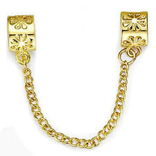 Fashion Gold Flower Clip Safety Chain Bead Fit European Charm Bracelet
