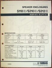 Yamaha S118 III S210 III S212 III Speaker Enclosures Original Service Manual