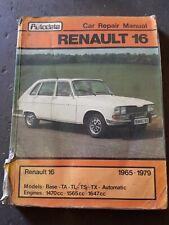 Autodata Car Repair Manual For Renault 16 1965 - 1979, 1980 Edition