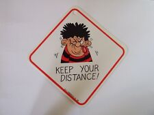 Dennis The Menace Laminated Car Window Sign Vintage - Keep your distance