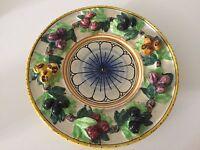"Antique Italian Majolica Handpainted & Crafted Olive Plate, 10 1/4"" Diameter"