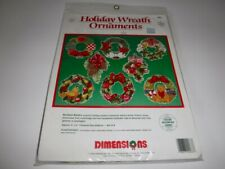 Vintage 1992 Dimensions Holiday Wreath Ornament Christmas Cross Stitch Kit #9083