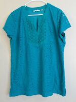 Isaac Mizrahi Live! Short Sleeve Mixed Lace Tunic Women's Size XL V-neck Top