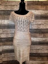 7df4a911178 Maurices women s Sweater knitted Dress short sleeve brown Small see through  ~N