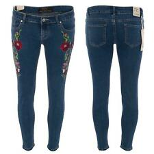 Ladies Floral Embroidered Rose Flower Denim Jeans Skinny Stretch Slim Fit Trend