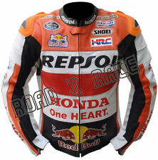 Repsol RedBull Motorcycle Biker Racing Cowhide Leather Jacket
