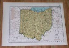 1943 ORIGINAL VINTAGE WWII MAP OF OHIO / VERSO NORTH DAKOTA