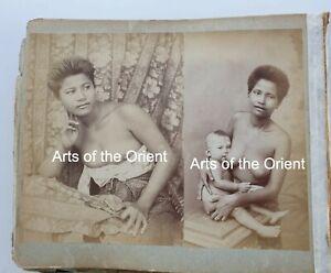 3 ANTIQUE ORIGINAL PHOTO THAI THAILAND RAMA V BANGKOK ALBUMEN SIAM SIAMESE 1900