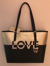 NWT MK Michael Kors LOVE Medium Carryall Tote Black Gold Leather Purse $328