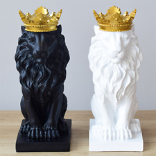 5 Color Creative Golden Crown Lion king Statue Modern Resin Black/White Animal