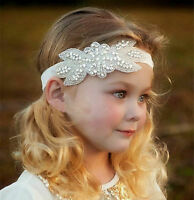 Girl Kid Children Lady Crystal Rhinestone Elastic White Hair Headband Band PROP