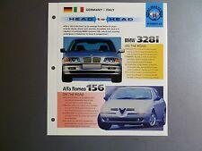 """BMW 328i vs Alfa Romeo 156 """"Head to Head"""" IMP """"Hot Cars"""" Spec Sheet Folder RARE!"""