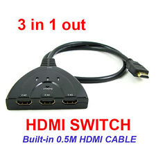 3 Port HDMI Switch Switcher Splitter Box 1080P FULL HD Auto Adapter (3 in 1 out)