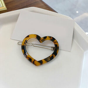 Womens Geometric Frog Clip Acetate Barrette Love Heart Shape Hair Clip Wholesale