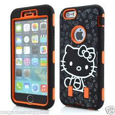 Orange Hello Kitty DEFENDER Armor Shockproof Hybrid 3Piece Case for iPhone 6 4.7