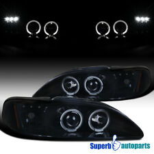 For Ford Mustang 94-98 LED Halo Glossy Black Smoke Projector Headlights Pair