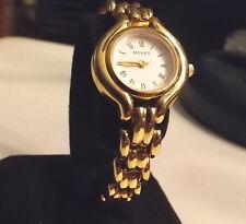 Womens Gold Monet Dress Watch JEWELED MIYOTA MOVEMENT Fresh Battery Lower Price!
