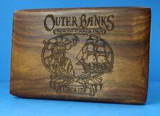 OUTER BANKS N. CAROLINA VTG JEWLERY WOOD KEEPSAKE BOX ENGRAVED CLIPPER PIRATE