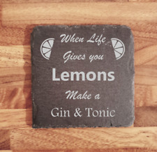 Novelty Gin slate coaster, great for home bar gaden party