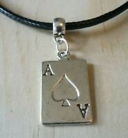 ACE OF SPADES LEATHER NECKLACE 17 INCH MENS WOMENS TIBETAN SILVER PENDANT