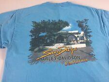 Harley Davidson T-Shirt Adult SZ M/L San Diego California Biker Motorcycles Blue