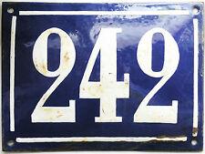 Large old French house number 242 door gate plate plaque enamel steel metal sign