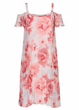 Off the shoulder Pink floral lined Flowing summer diamante Tea party dress 22
