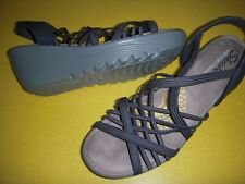 Skechers Parallel - Crossed Wires Stretch Strappy Wedge Sandals Women's 8 M Navy