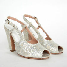 MAISON MARTIN MARGIELA $630 silver gold glitter covered high heel shoes 35.5 NEW