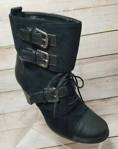 Madden Girl Funky Cynder Moto Boots 7 Black Vegan Leather Buckles Lace Up Zip