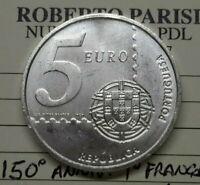 2003 PORTOGALLO 5 EURO 150° ANNIVERSARIO I° FRANCOBOLLO Argento FDC commemorativ