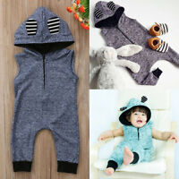 Newborn Infant Baby Boy Girl Hooded Romper Jumpsuit Bodysuit Clothes Outfits Set