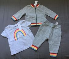 Baby Girl 6-12 Month Gymboree Gray Rainbow Bomber Jacket Jogger Pants & Tee Top
