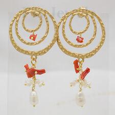 Orecchini cerchi perle corallo rosso ottone anticato placcato oro Gioielli