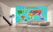 Map of the World Wall Mural Photo Wallpaper GIANT DECOR Paper Poster Free Paste