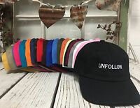 Unfollow Curved Brim Baseball Polo Caps Hats - Many Colors
